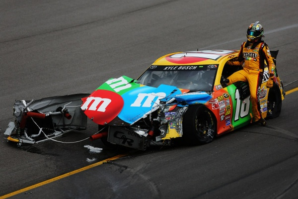 Kyle Busch is now in a deep hole, and not in a great mood either, and teammate Matt Kenseth just happy to escape Kansas