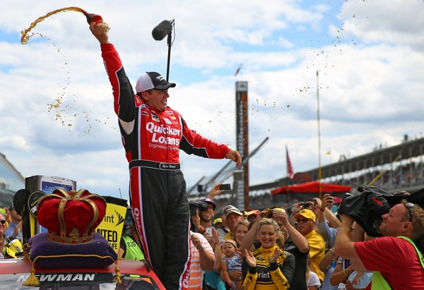Ryan Newman, looking for a new ride for 2014, makes an impressive statement in beating Jimmie Johnson to win the Brickyard 400. The crowd down again, but TV ratings up