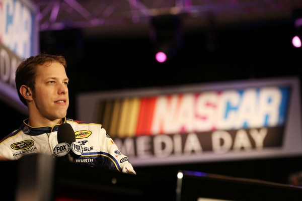 Brad Keselowski warming up for his Saturday night prime-time TV stint....