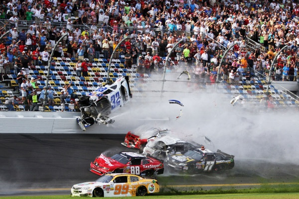 Frightening last-lap Nationwide crash rips safety fencing at Daytona
