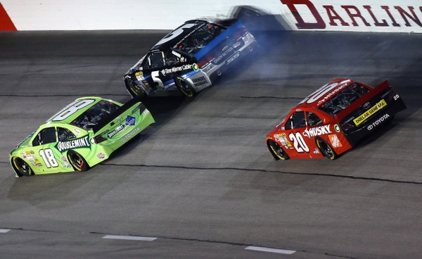 Denny Hamlin makes a great comeback, but Kyle Busch, well, not a great finish....and just ask Kasey Kahne