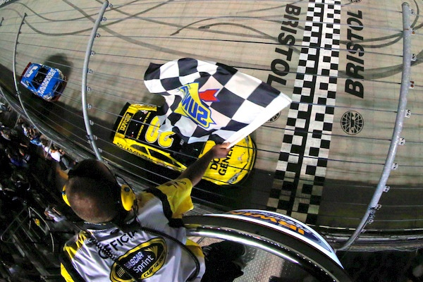 Matt Kenseth! Over Kasey Kahne, in a very tense stretch run, to win the Bristol 500