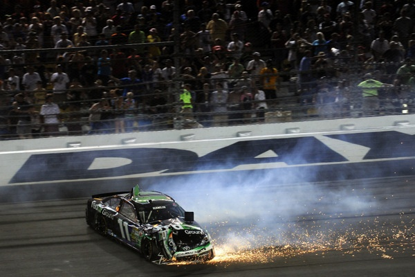 Jimmie Johnson! But, wow, what a night of carnage at Daytona